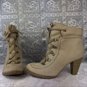 Decree Taupe Military Style Lace Up Ankle Booties